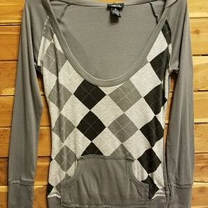 RUE 21*ARGYLE SCOOP NECK HOODED SHIRT*LONG SLV